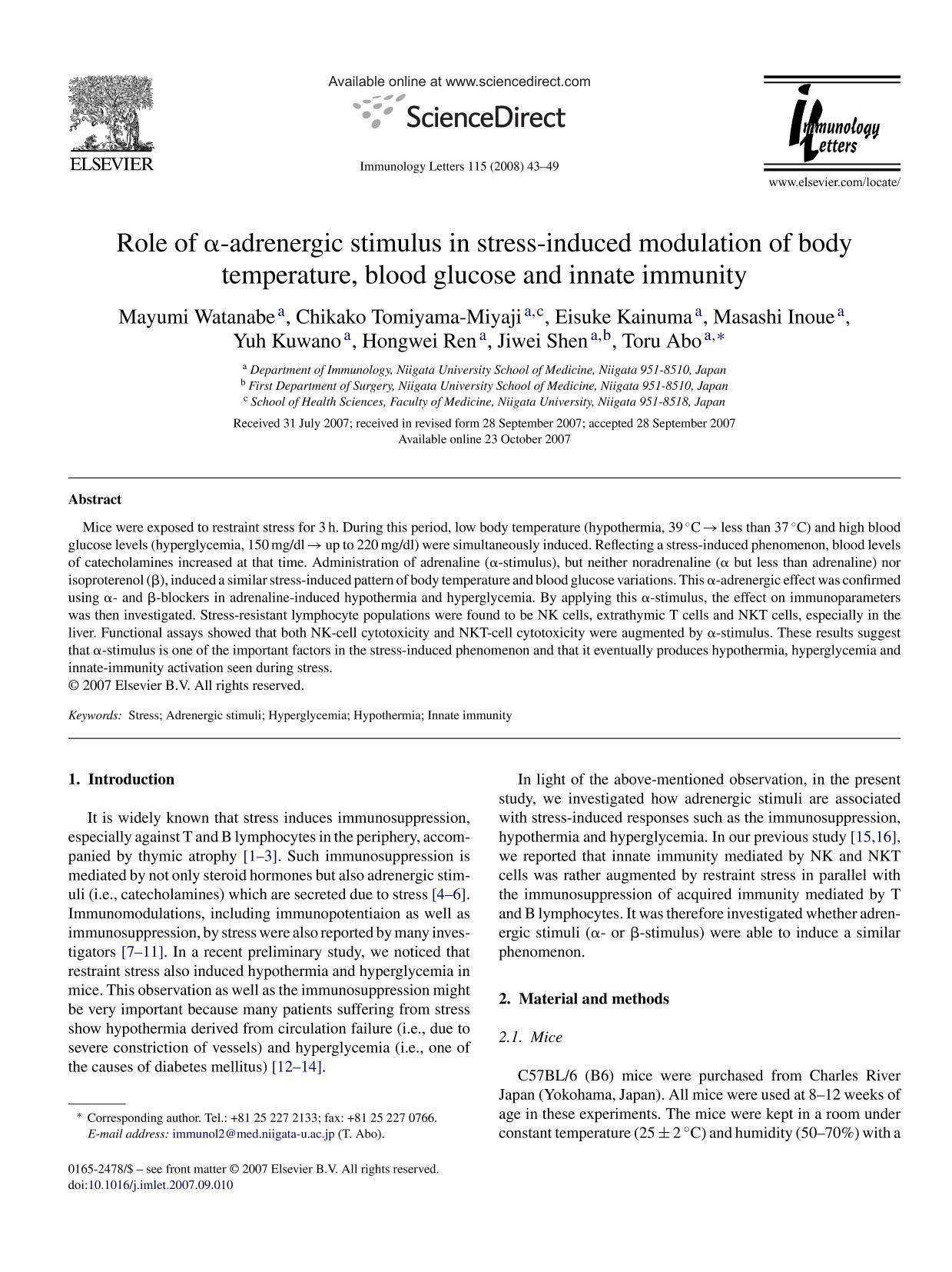 Portada del libro Role of α-adrenergic stimulus in stress-induced modulation of body temperature, blood glucose and innate immunity