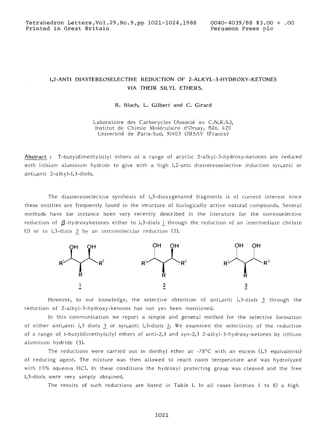 Okładka książki 1,2-anti diastereoselective reduction of 2-alkyl-3-hydroxy-ketones via their silyl ethers