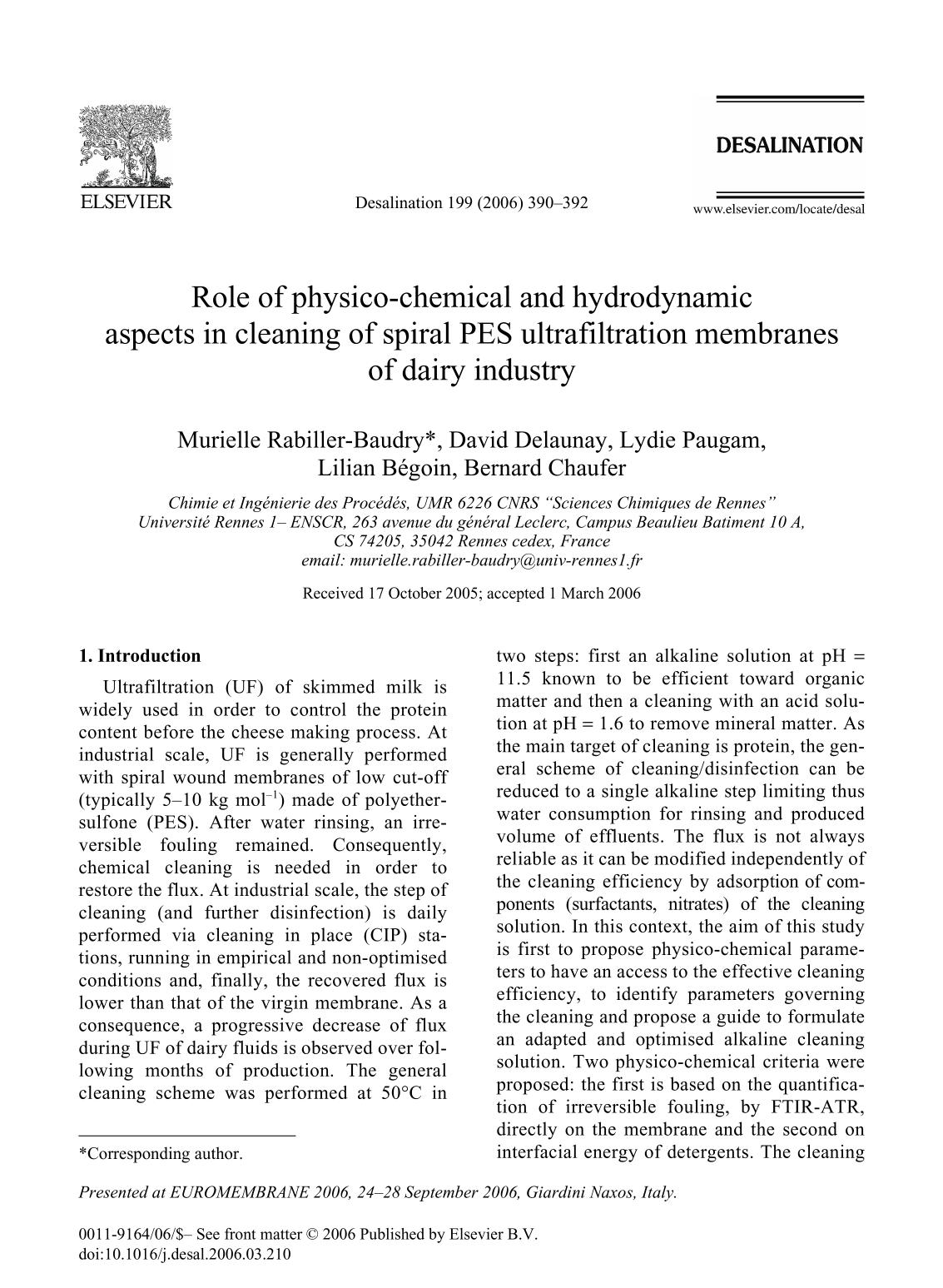 La couverture du livre Role of physico-chemical and hydrodynamic aspects in cleaning of spiral PES ultrafiltration membranes of dairy industry