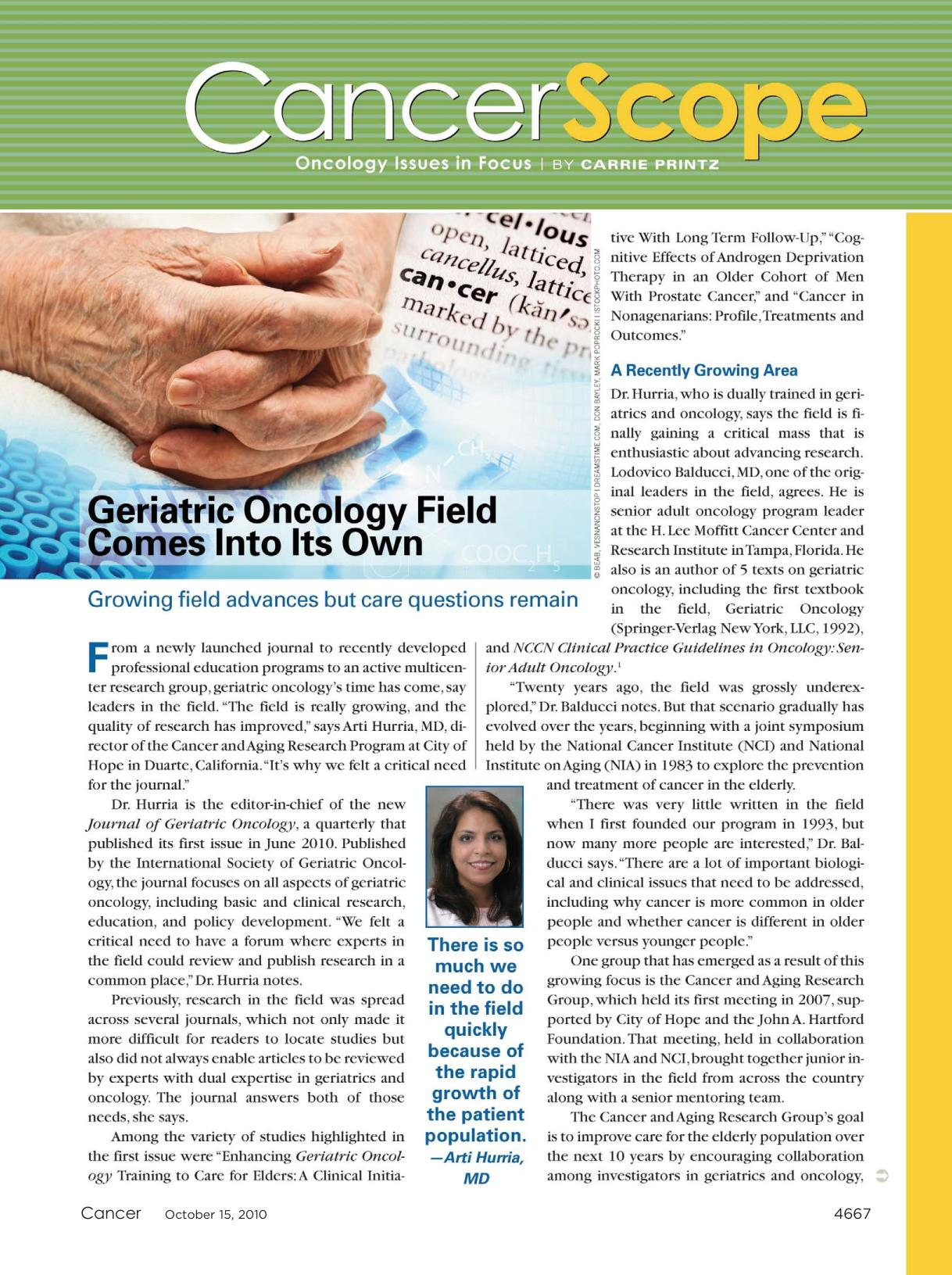 Couverture du livre Geriatric oncology field comes into its own : Growing field advances but care questions remain