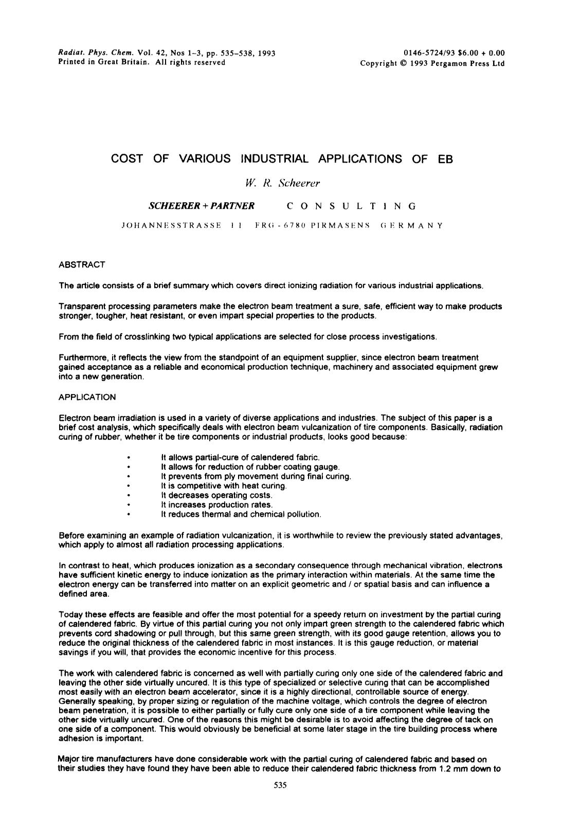 Kover buku Cost of various industrial applications of EB