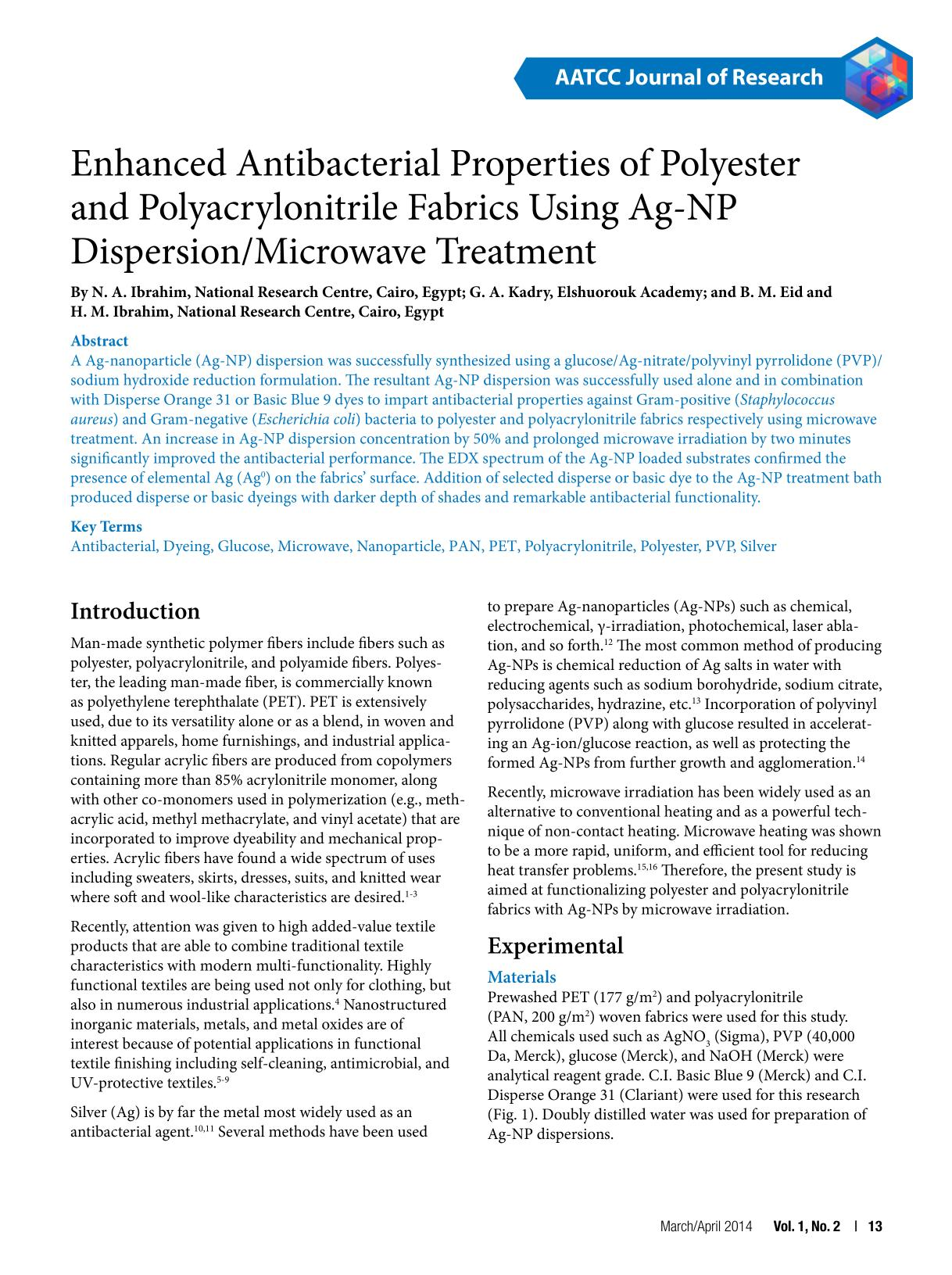 Portada del libro Enhanced Antibacterial Properties of Polyester and Polyacrylonitrile Fabrics Using Ag-NP Dispersion/Microwave Treatment