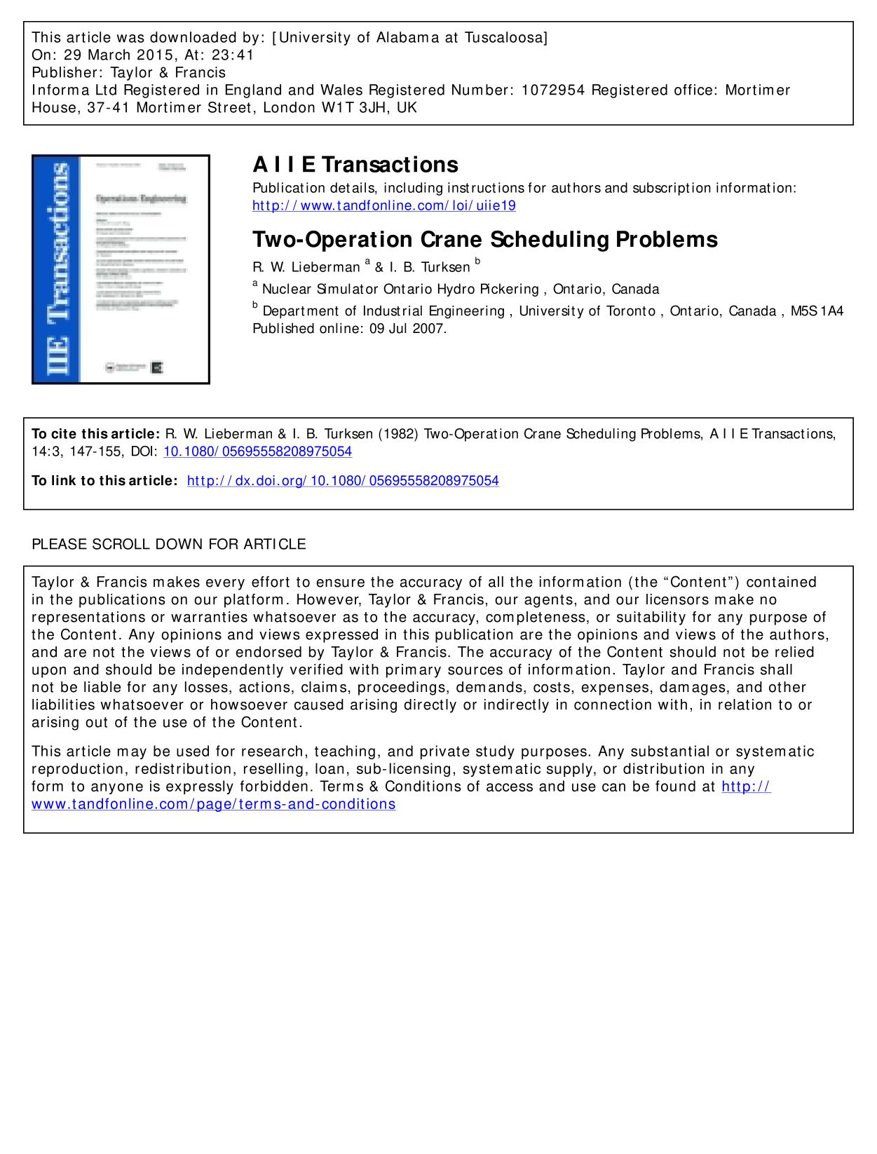 Book cover Two-Operation Crane Scheduling Problems