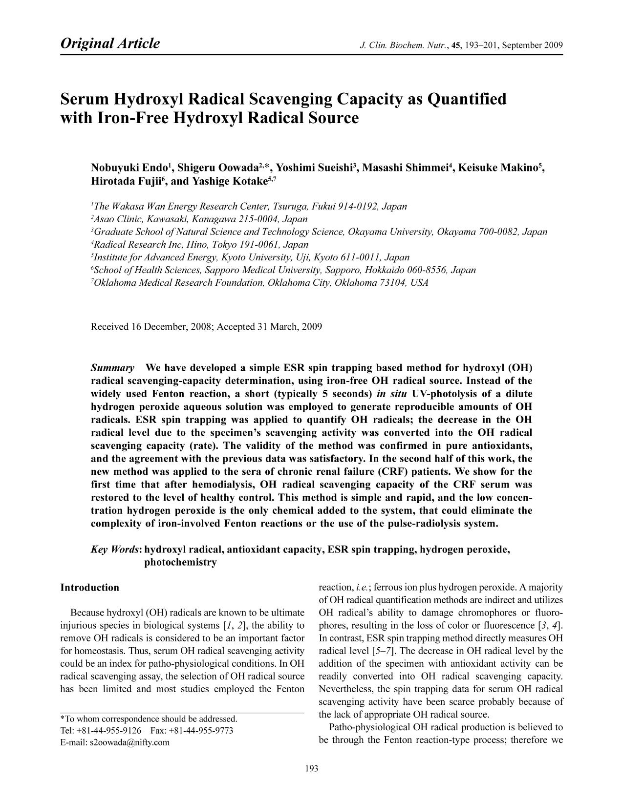 capa de livro Serum Hydroxyl Radical Scavenging Capacity as Quantified with Iron-Free Hydroxyl Radical Source