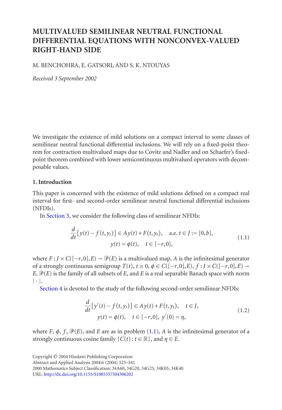 Portada del libro Multivalued semilinear neutral functional differential equations with nonconvex-valued right-hand side