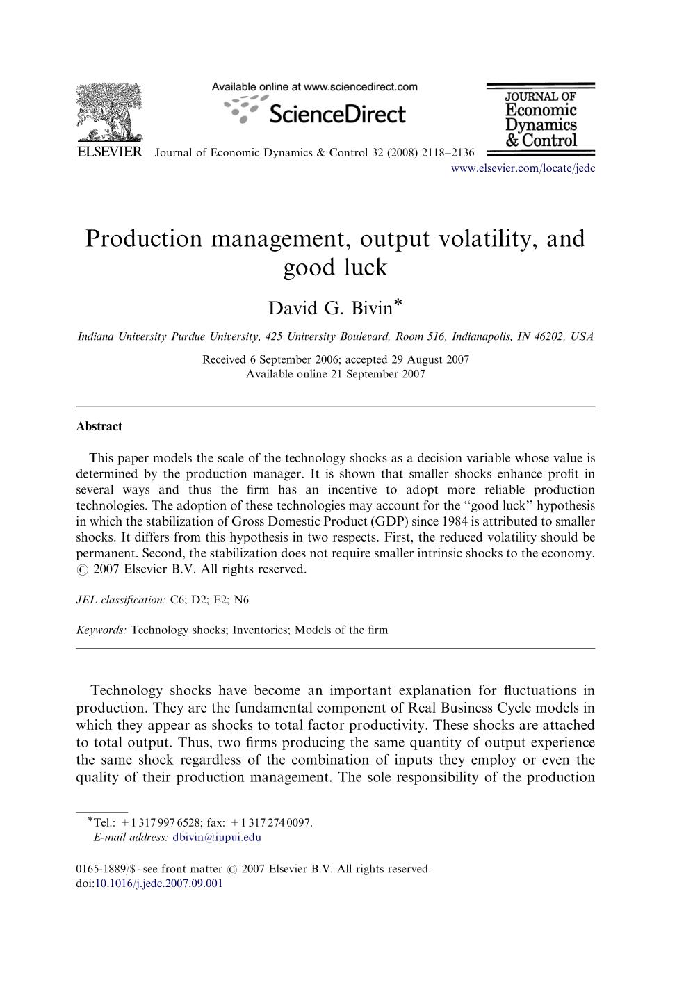 Couverture Production management, output volatility, and good luck