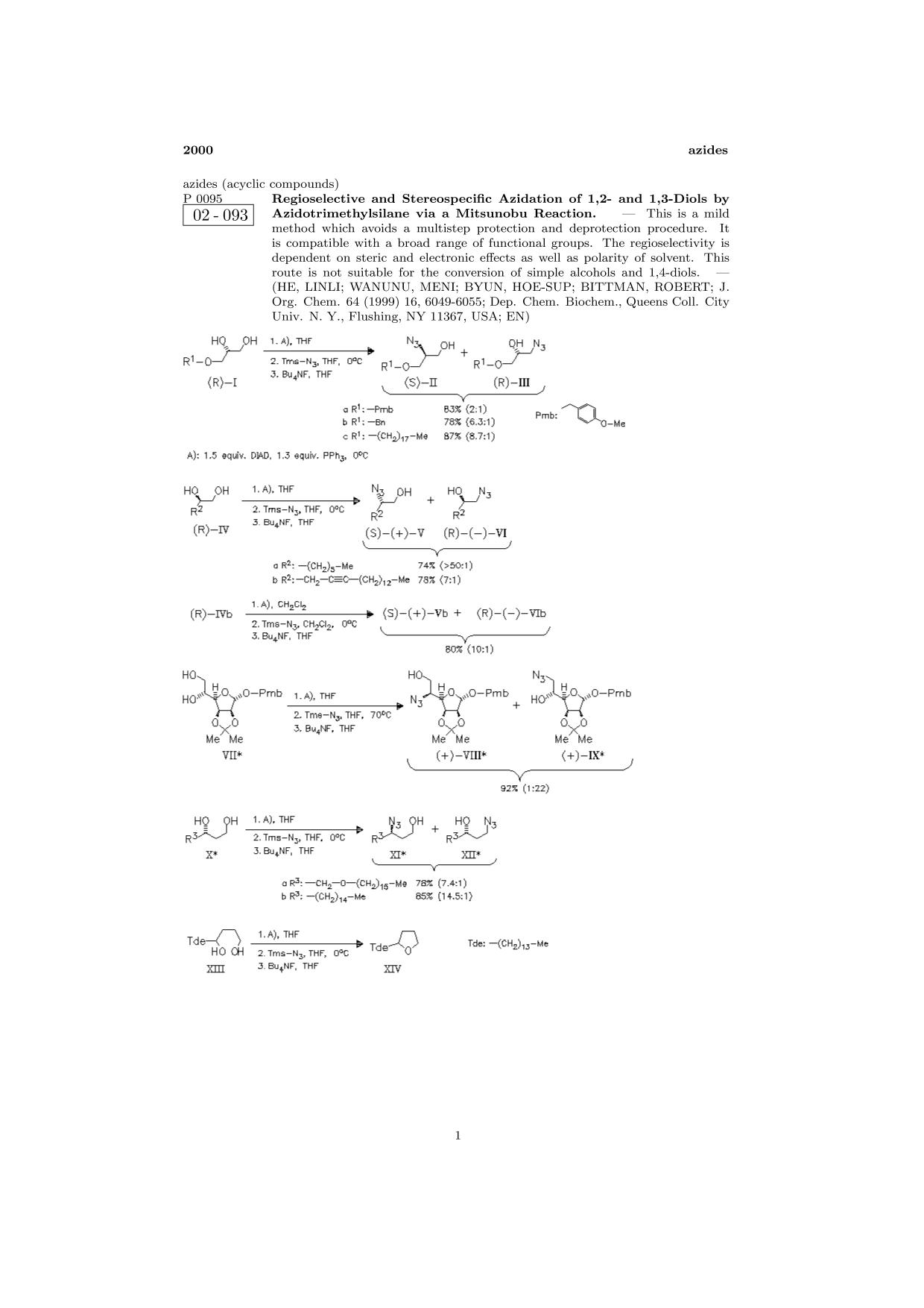 غلاف الكتاب ChemInform Abstract: Regioselective and Stereospecific Azidation of 1,2- and 1,3-Diols by Azidotrimethylsilane via a Mitsunobu Reaction.<span></span>