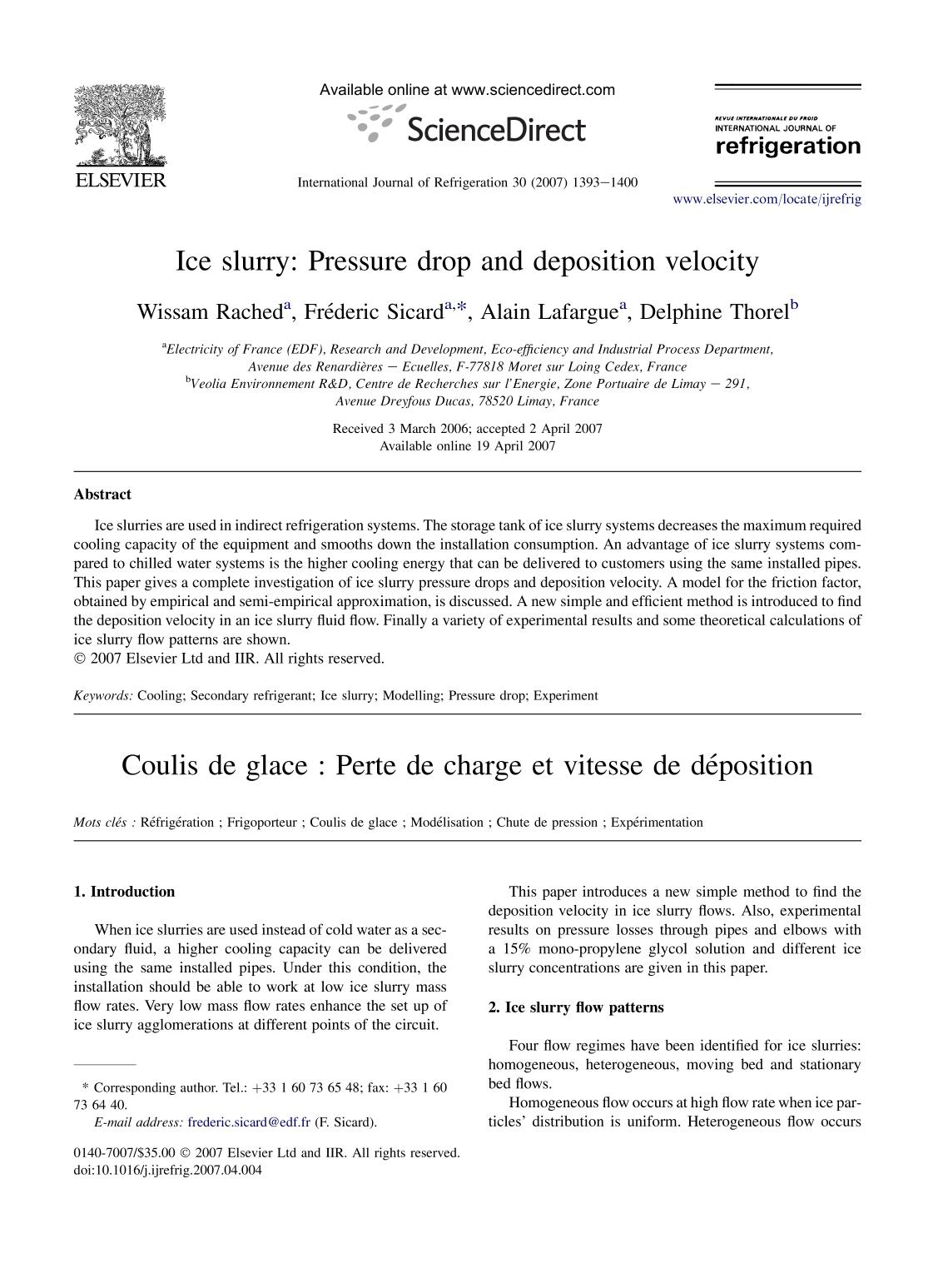 غلاف الكتاب Ice slurry: Pressure drop and deposition velocity