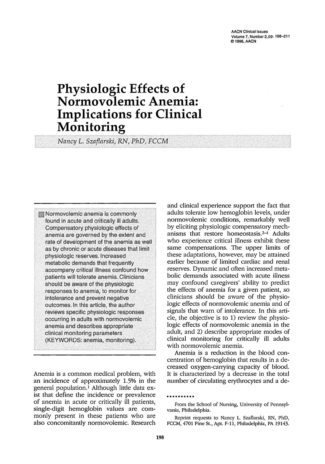Couverture Physiologic Effects of Normovolemic Anemia: Implications for Clinical Monitoring