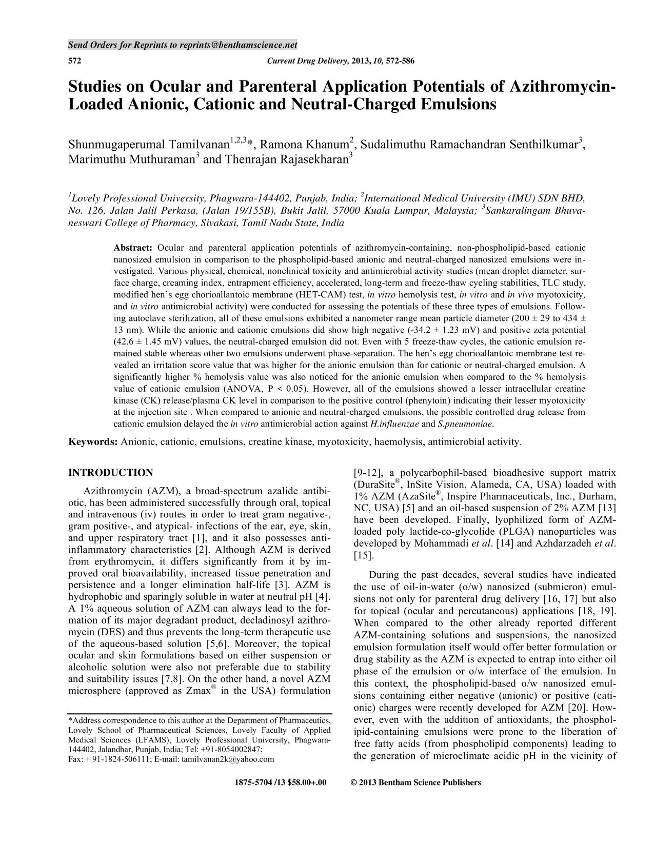 Portada del libro Studies on Ocular and Parenteral Application Potentials of Azithromycin- Loaded Anionic, Cationic and Neutral-Charged Emulsions