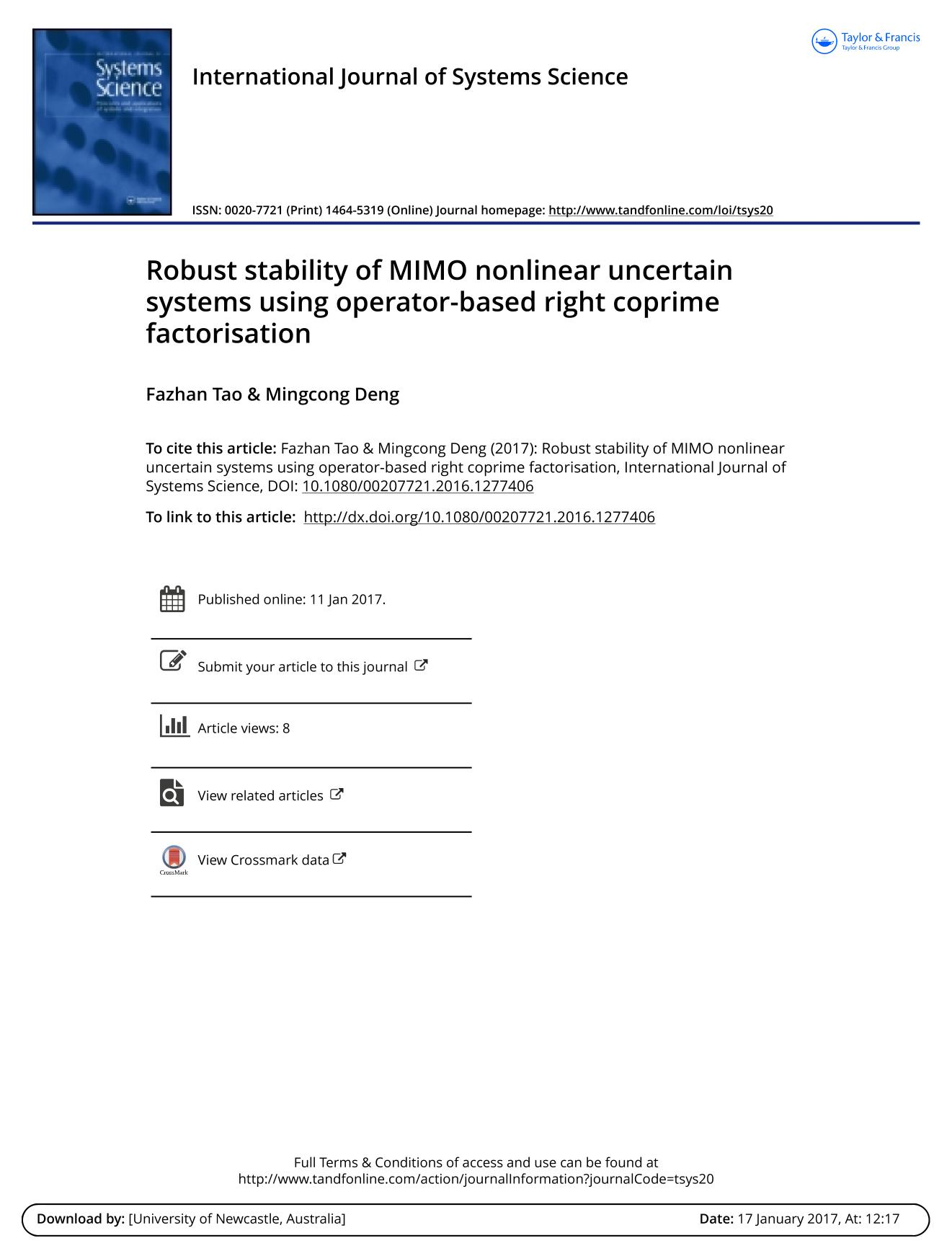 غلاف الكتاب Robust stability of MIMO nonlinear uncertain systems using operator-based right coprime factorisation