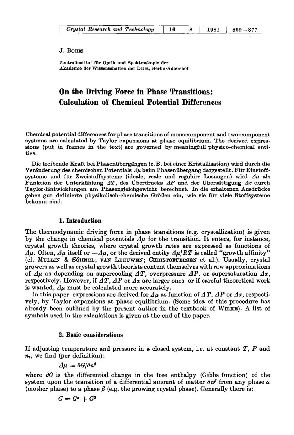 表紙 On the driving force in phase transitions: Calculation of chemical potential differences