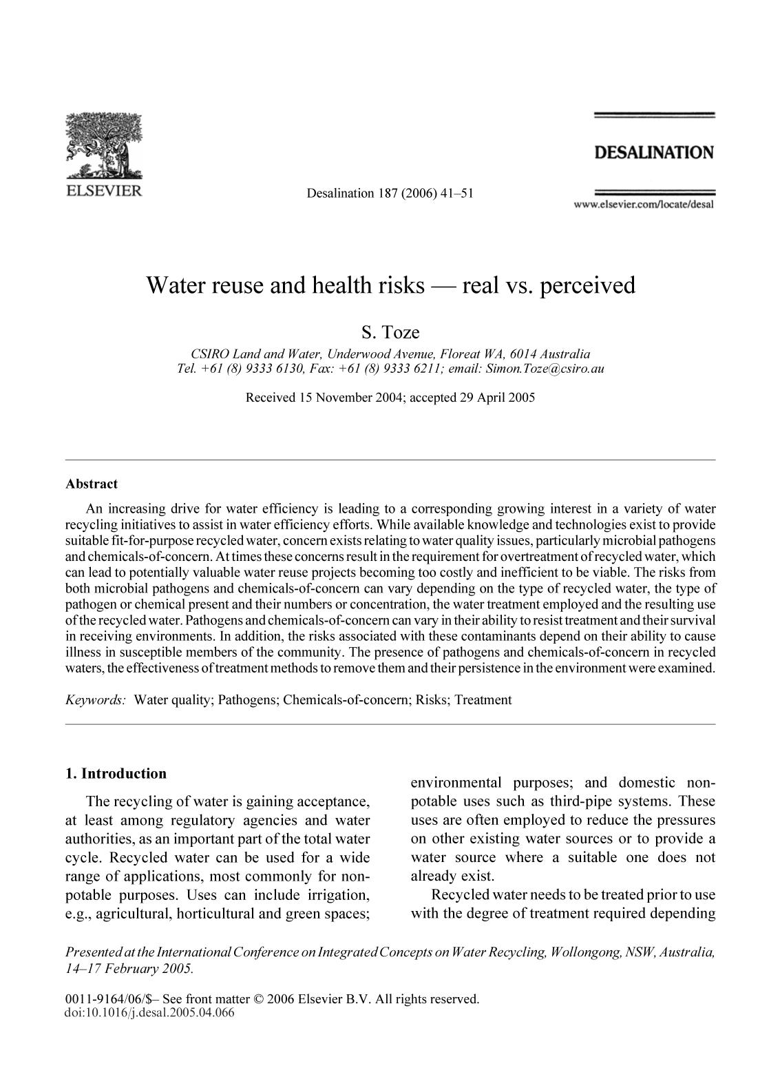 Обложка книги Water reuse and health risks — real vs. perceived