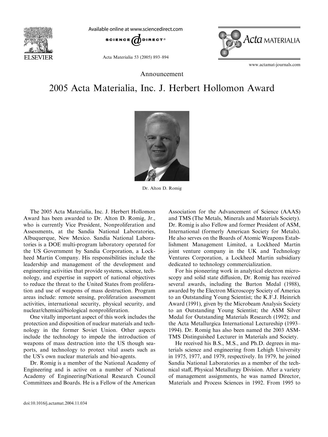 书籍封面 2005 Acta Materialia, Inc. J. Herbert Hollomon Award