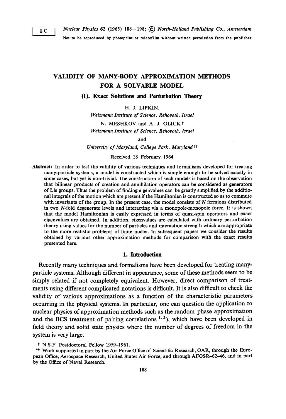 Copertina del libro Validity of many-body approximation methods for a solvable model: (I). Exact solutions and perturbation theory