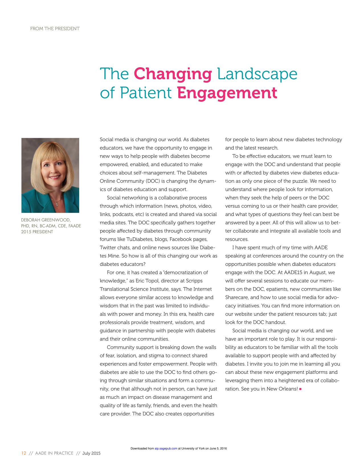 Book cover The Changing Landscape of Patient Engagement