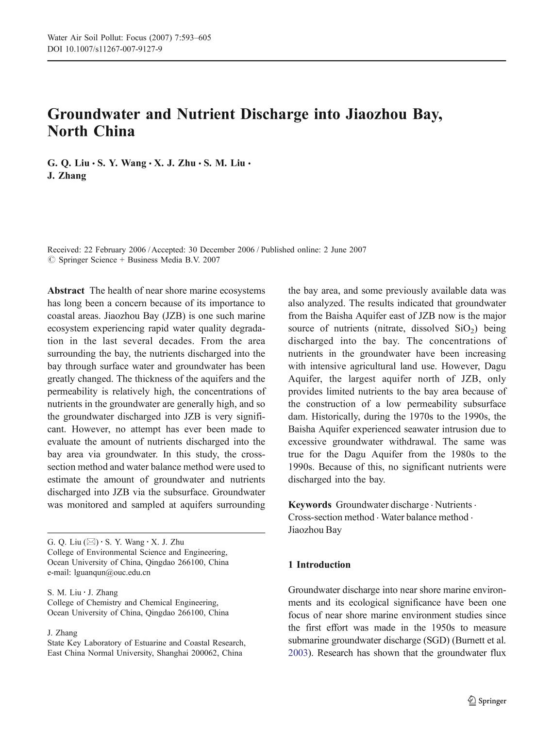 Book cover Groundwater and Nutrient Discharge into Jiaozhou Bay, North China