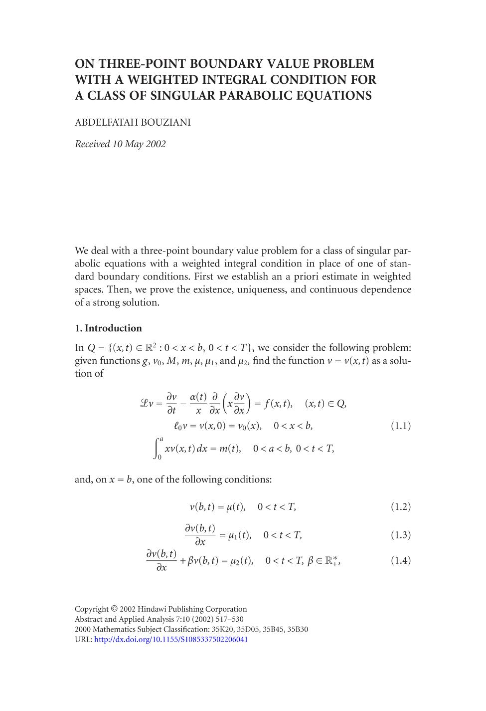 หน้าปก On three-point boundary value problem with a weighted integral condition for a class of singular parabolic equations