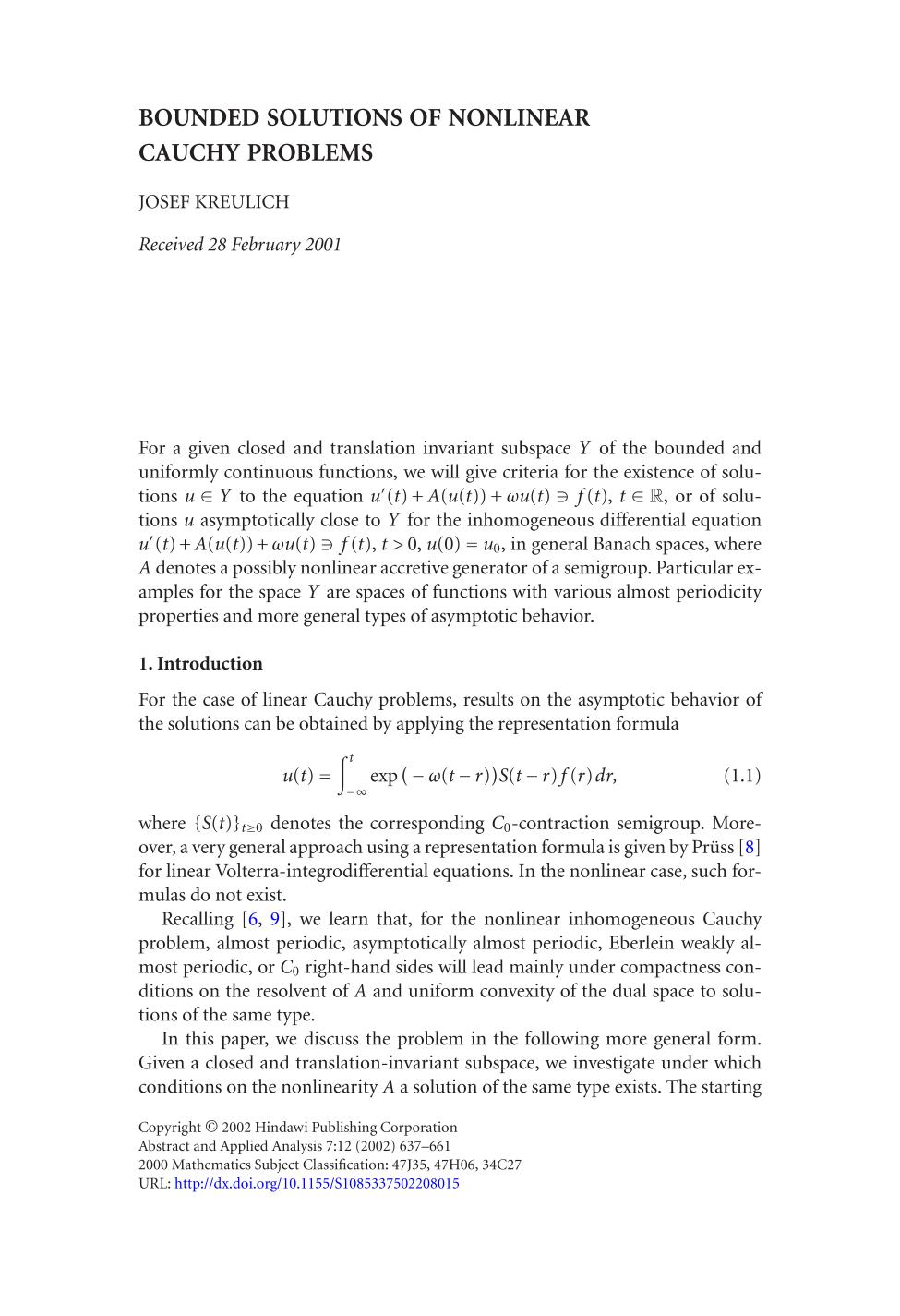 Couverture du livre Bounded solutions of nonlinear Cauchy problems