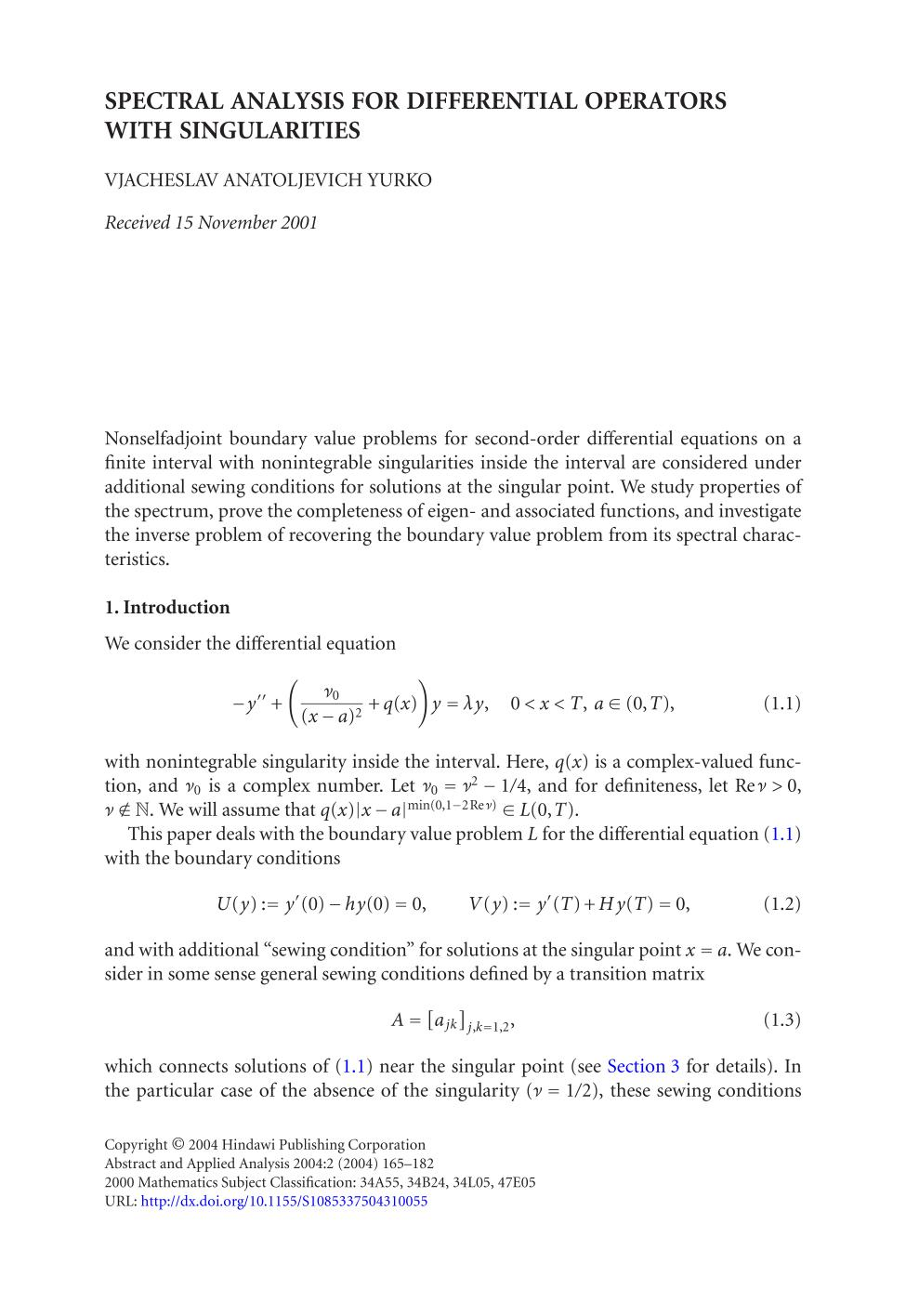 Couverture du livre Spectral analysis for differential operators with singularities