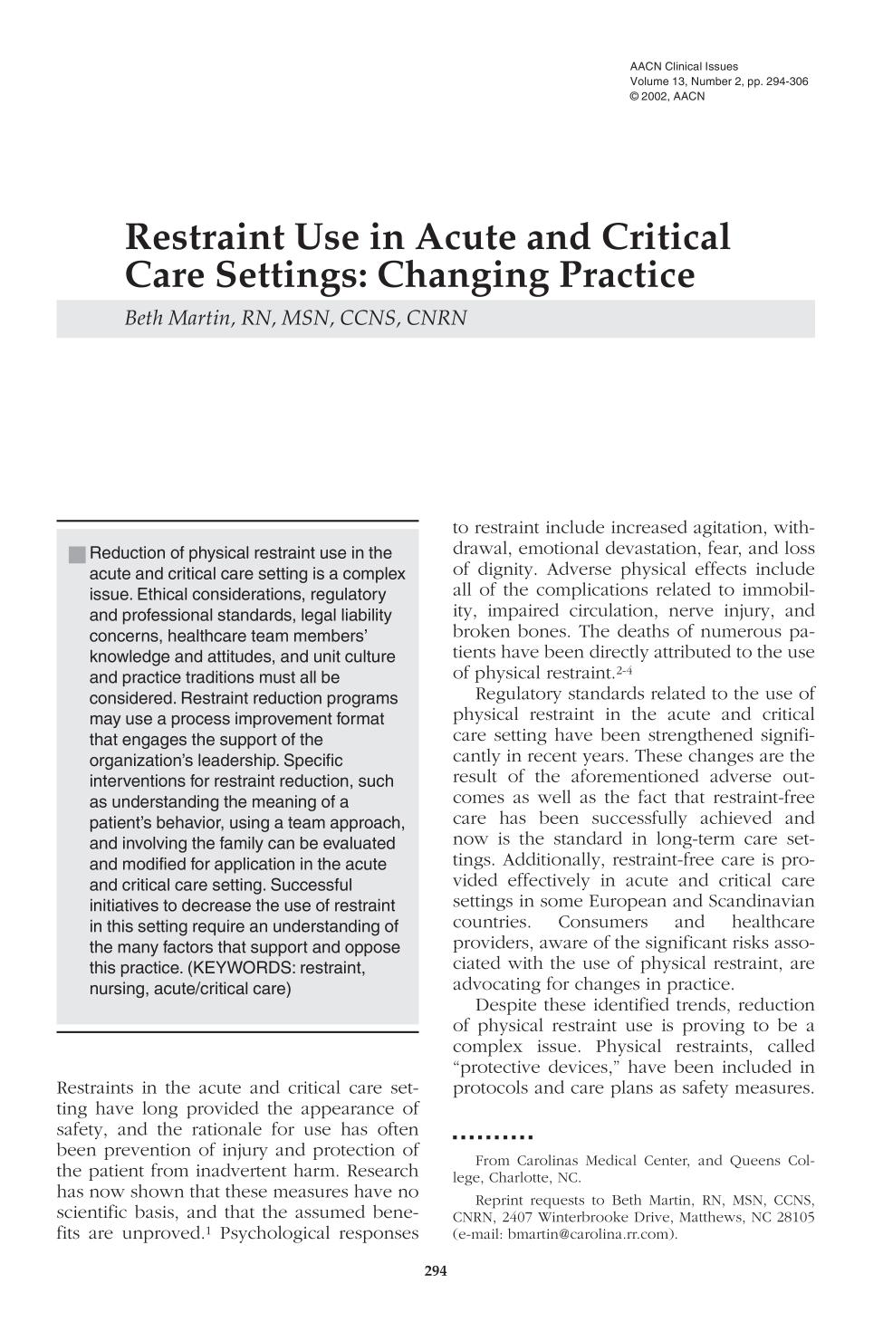 Portada del libro Restraint Use in Acute and Critical Care Settings: Changing Practice