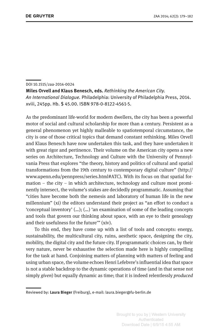 capa de livro Rethinking the American City. An International Dialogue