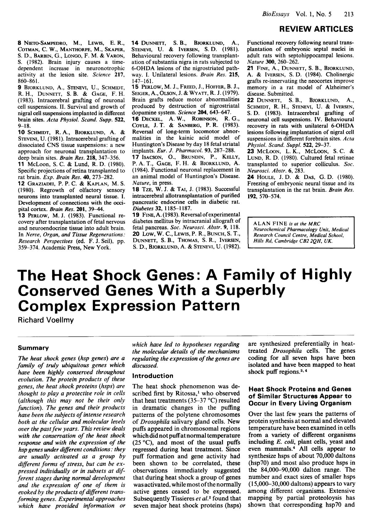 Обкладинка книги The heat shock genes: A family of highly conserved genes with a superbly complex expression pattern