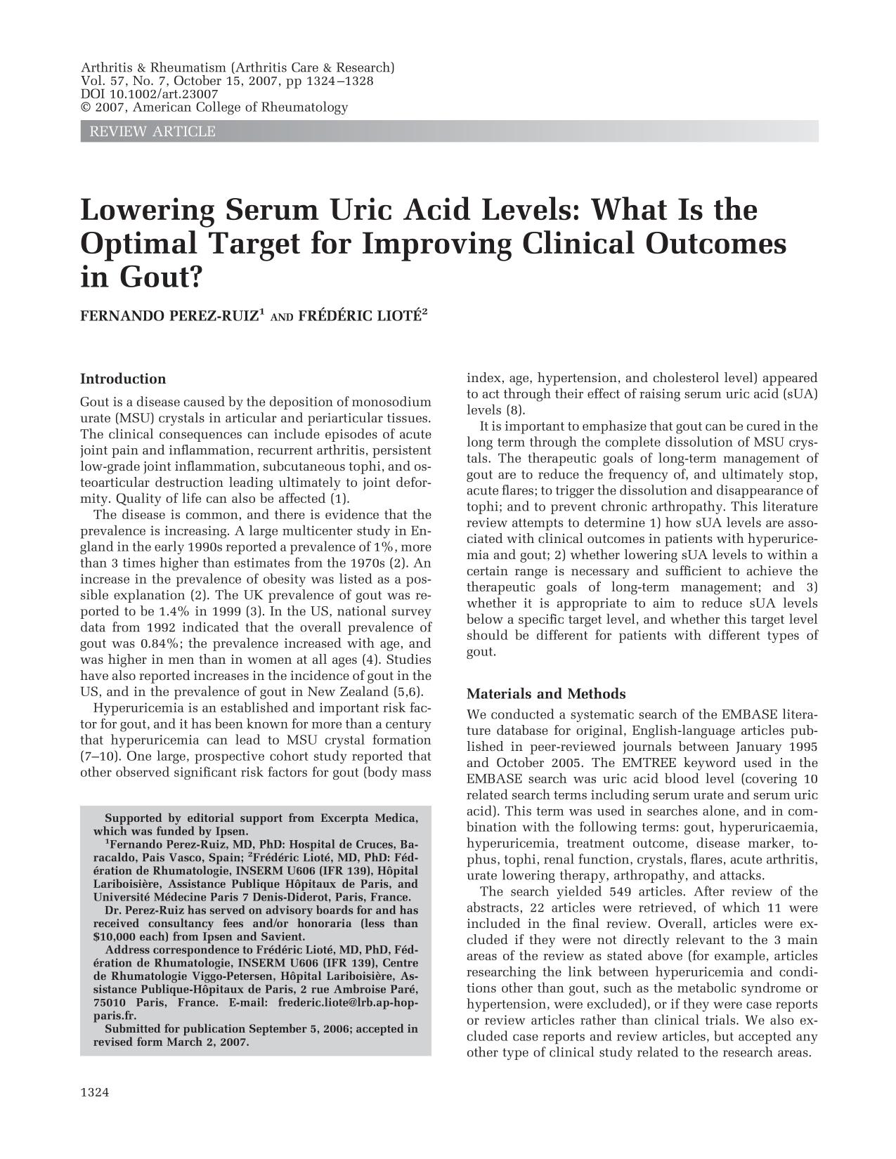 Обкладинка книги Lowering serum uric acid levels: What is the optimal target for improving clinical outcomes in gout?