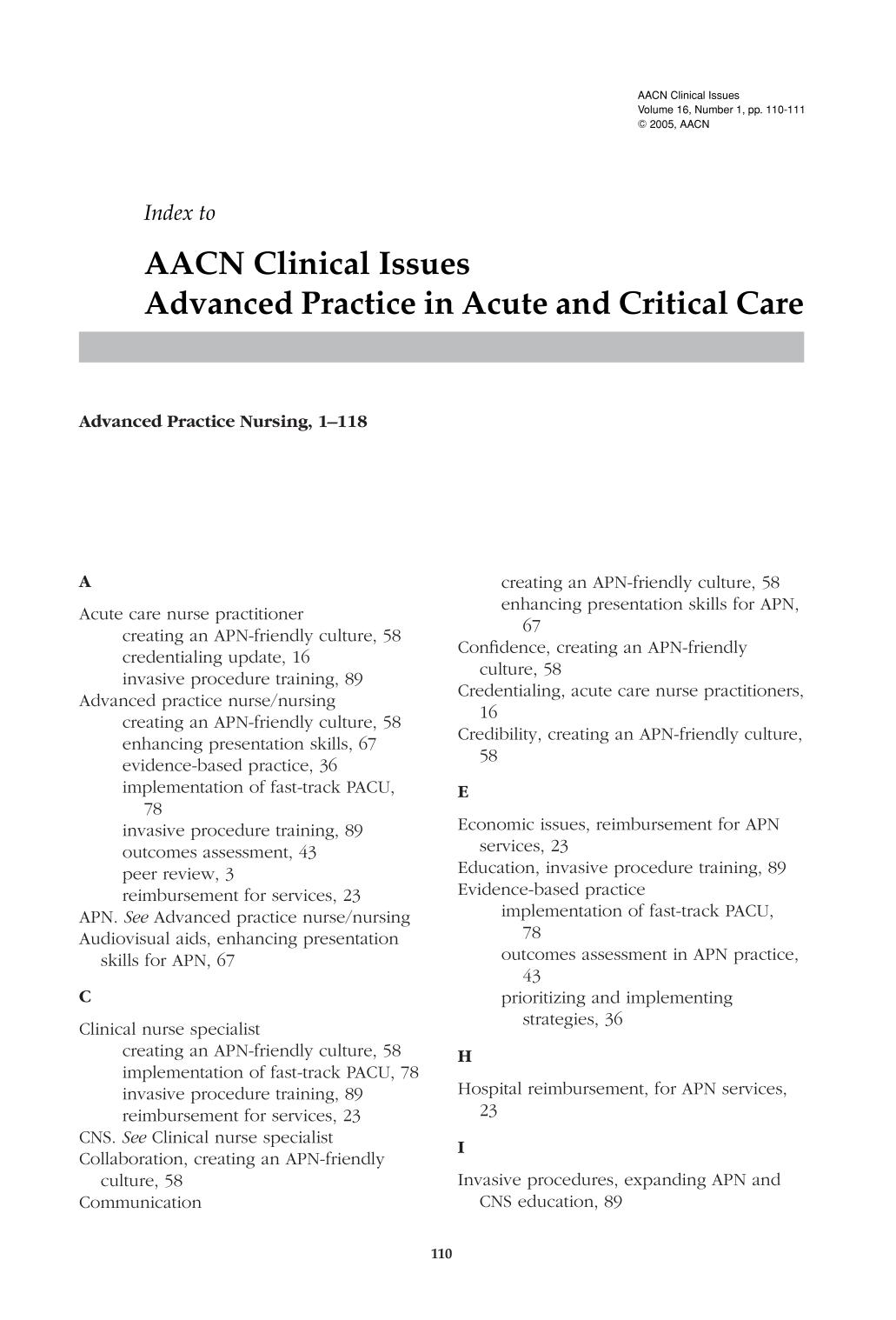 capa de livro Index to AACN Clinical Issues Advanced Practice in Acute and Critical Care