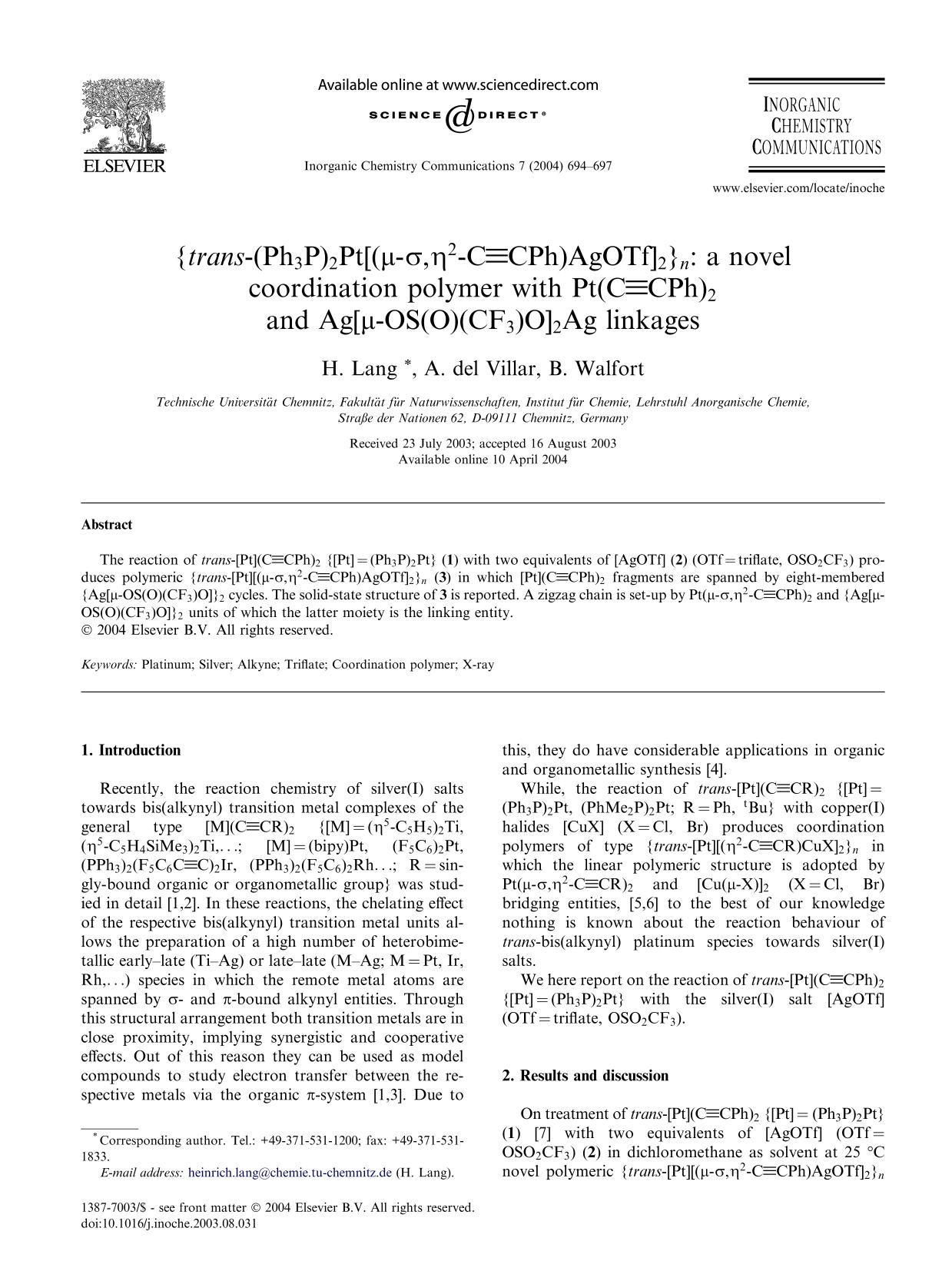 Обложка книги {trans-(Ph3P)2Pt[(μ-σ,η2-CCPh)AgOTf]2}n: a novel coordination polymer with Pt(CCPh)2 and Ag[μ-OS(O)(CF3)O]2Ag linkages