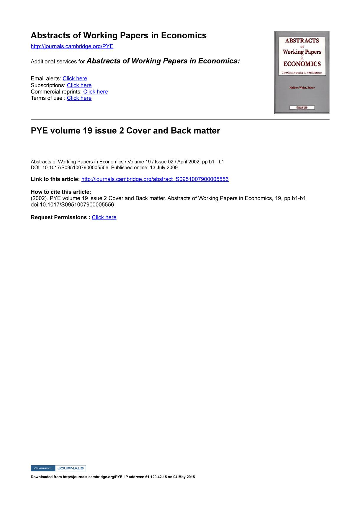 Book cover PYE volume 19 issue 2 Cover and Back matter