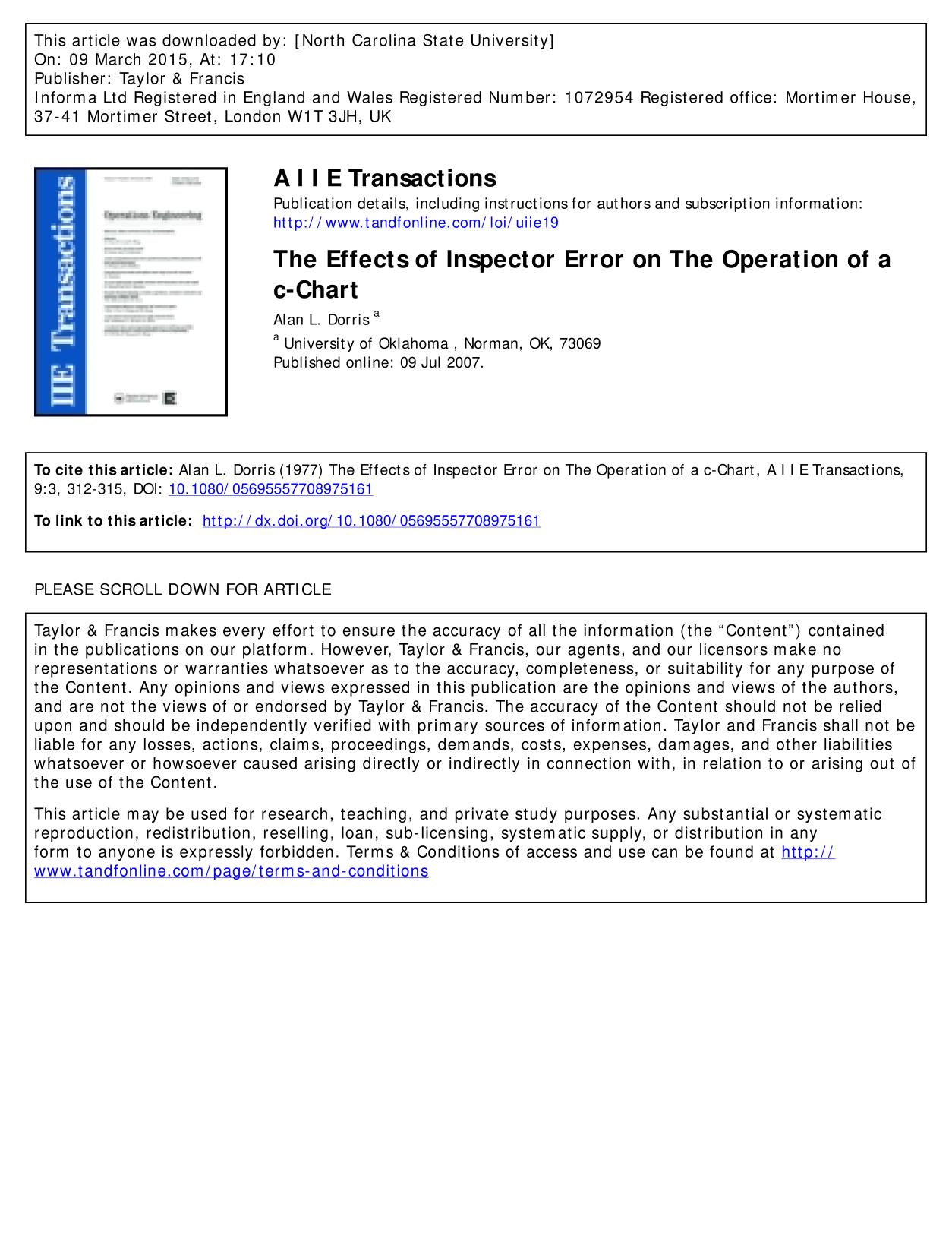 書籍の表紙 The Effects of Inspector Error on The Operation of a c-Chart