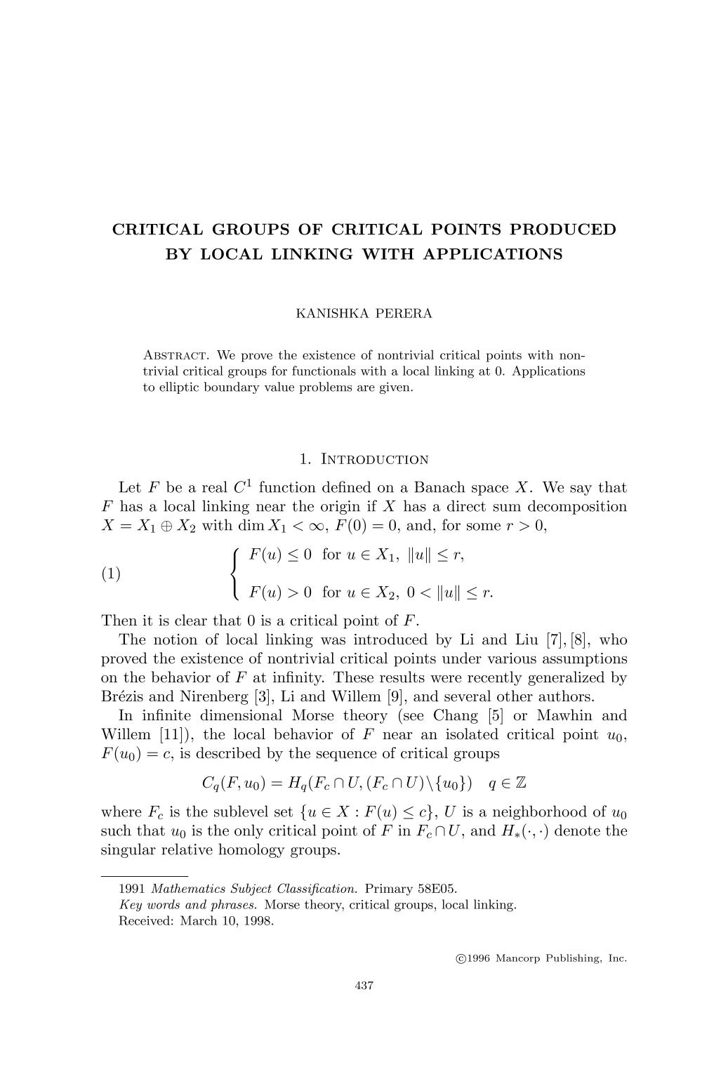 Couverture Critical groups of critical points produced by local linking with applications