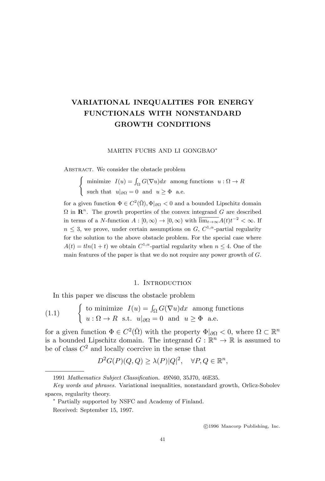 Couverture du livre Variational inequalities for energy functionals with nonstandard growth conditions