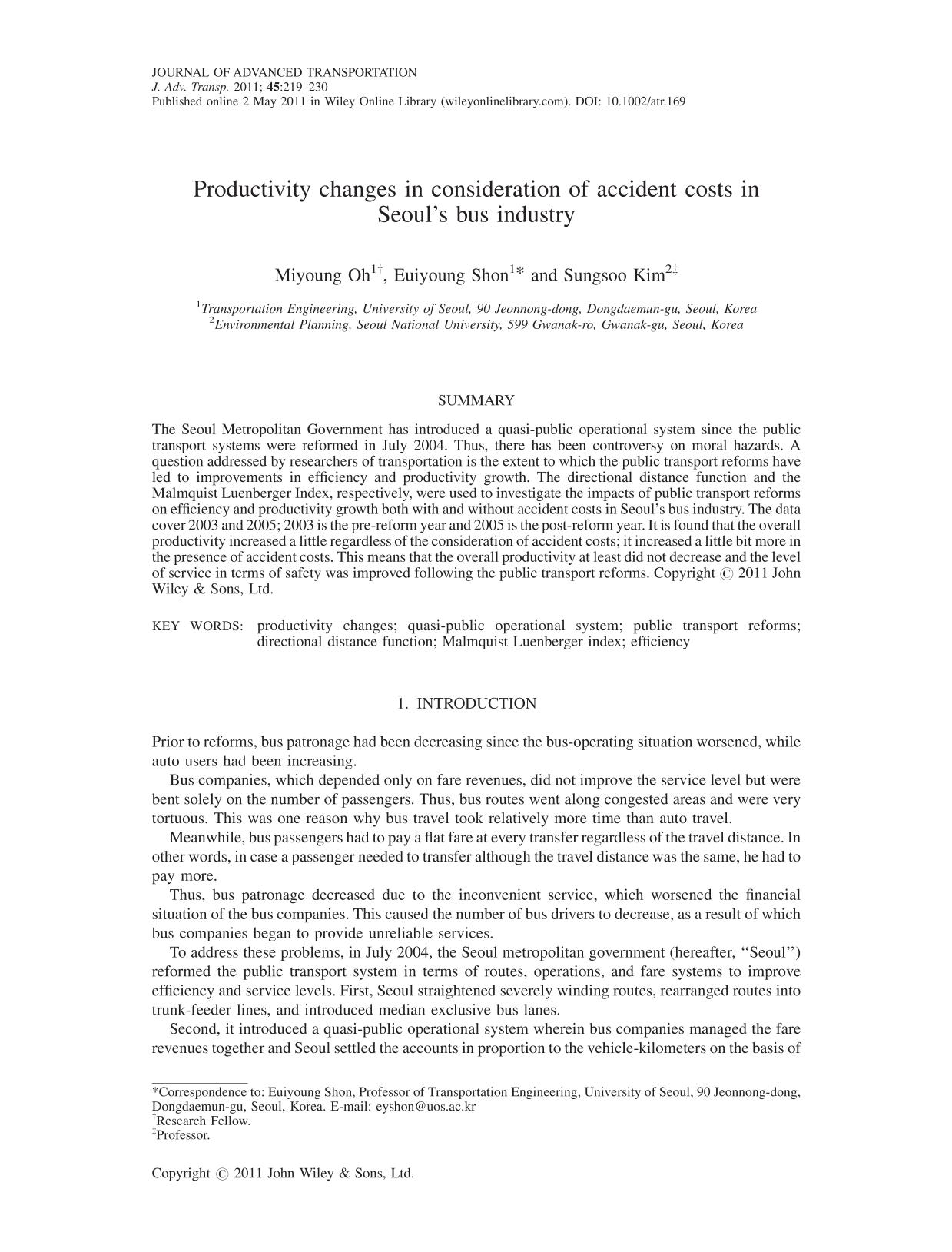 Couverture Productivity changes in consideration of accident costs in Seoul's bus industry