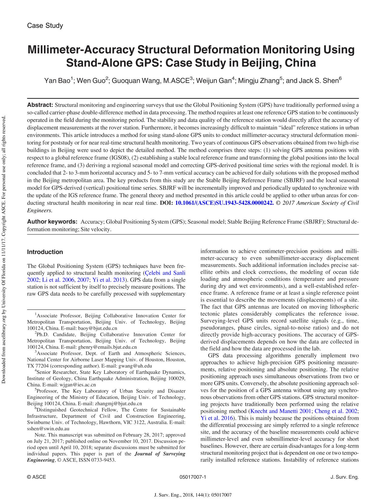 Kover buku Millimeter-Accuracy Structural Deformation Monitoring Using Stand-Alone GPS: Case Study in Beijing, China