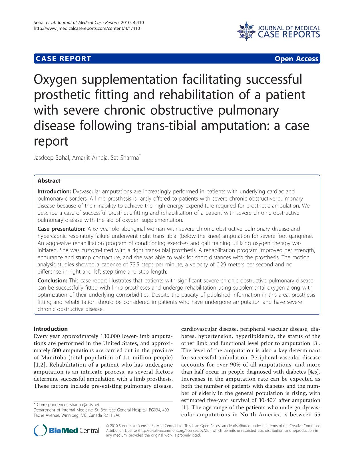 Kover buku Oxygen supplementation facilitating successful prosthetic fitting and rehabilitation of a patient with severe chronic obstructive pulmonary disease following trans-tibial amputation: a case report