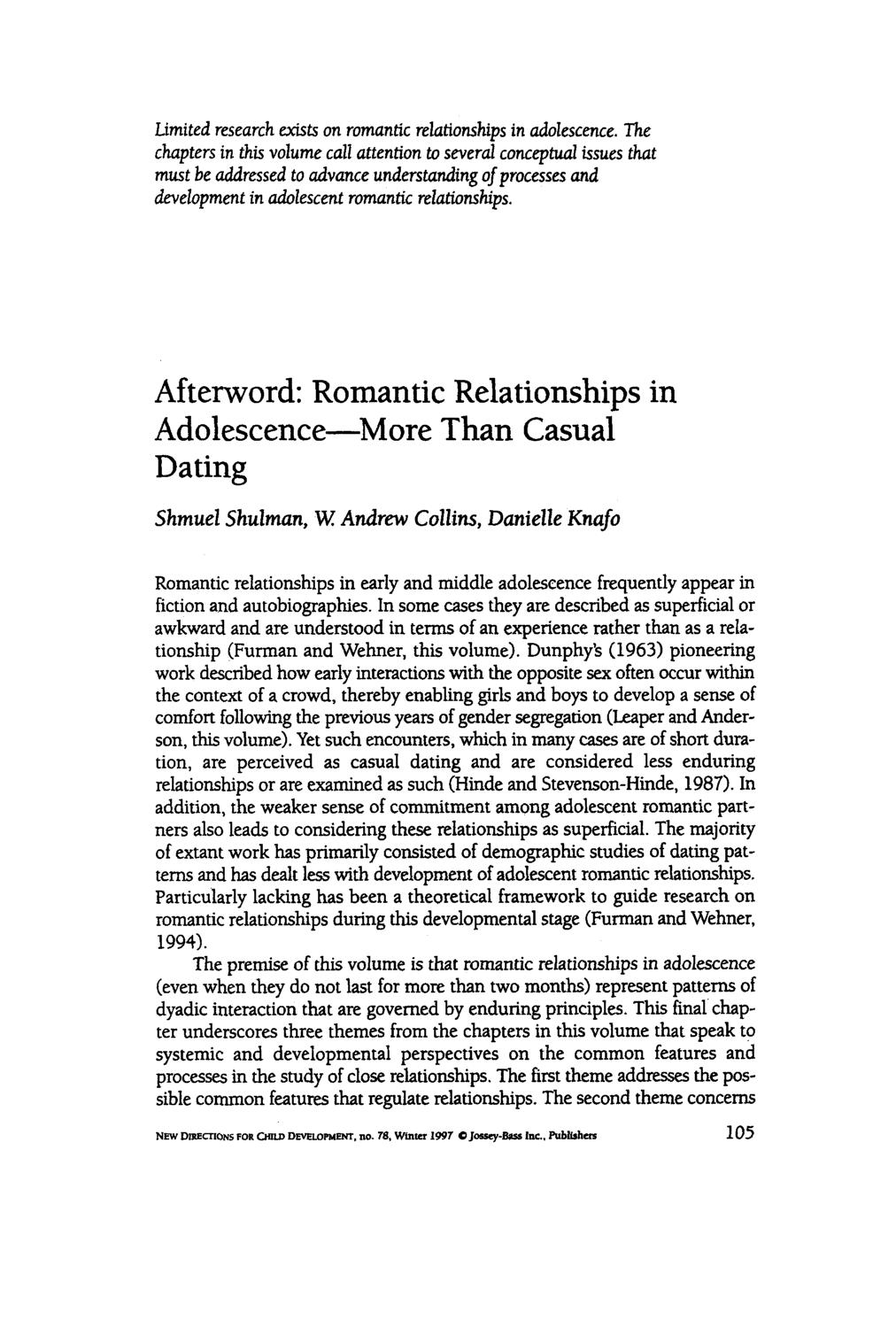 Book cover Afterword: Romantic relationships in adolescence—more than casual dating