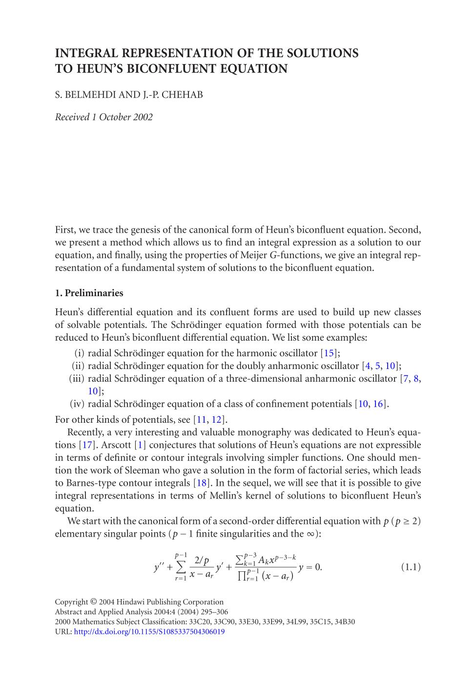 पुस्तक आवरण Integral representation of the solutions to Heun's biconfluent equation