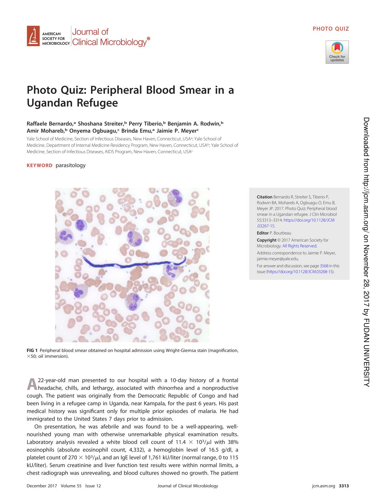 غلاف الكتاب Photo Quiz: Peripheral Blood Smear in a Ugandan Refugee