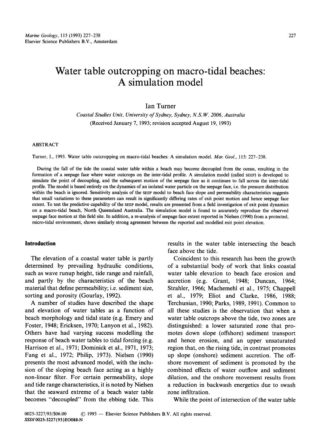 Couverture du livre Water table outcropping on macro-tidal beaches: A simulation model