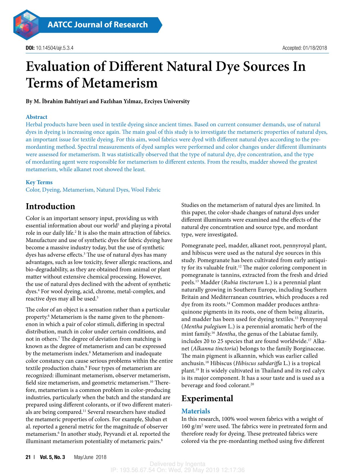 Book cover Evaluation of Different Natural Dye Sources In Terms of Metamerism