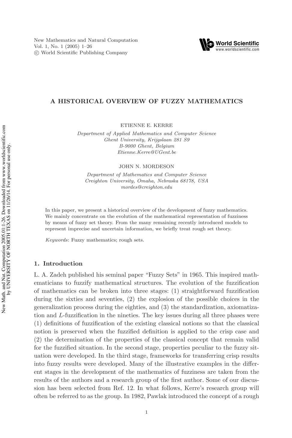 Обкладинка книги A HISTORICAL OVERVIEW OF FUZZY MATHEMATICS