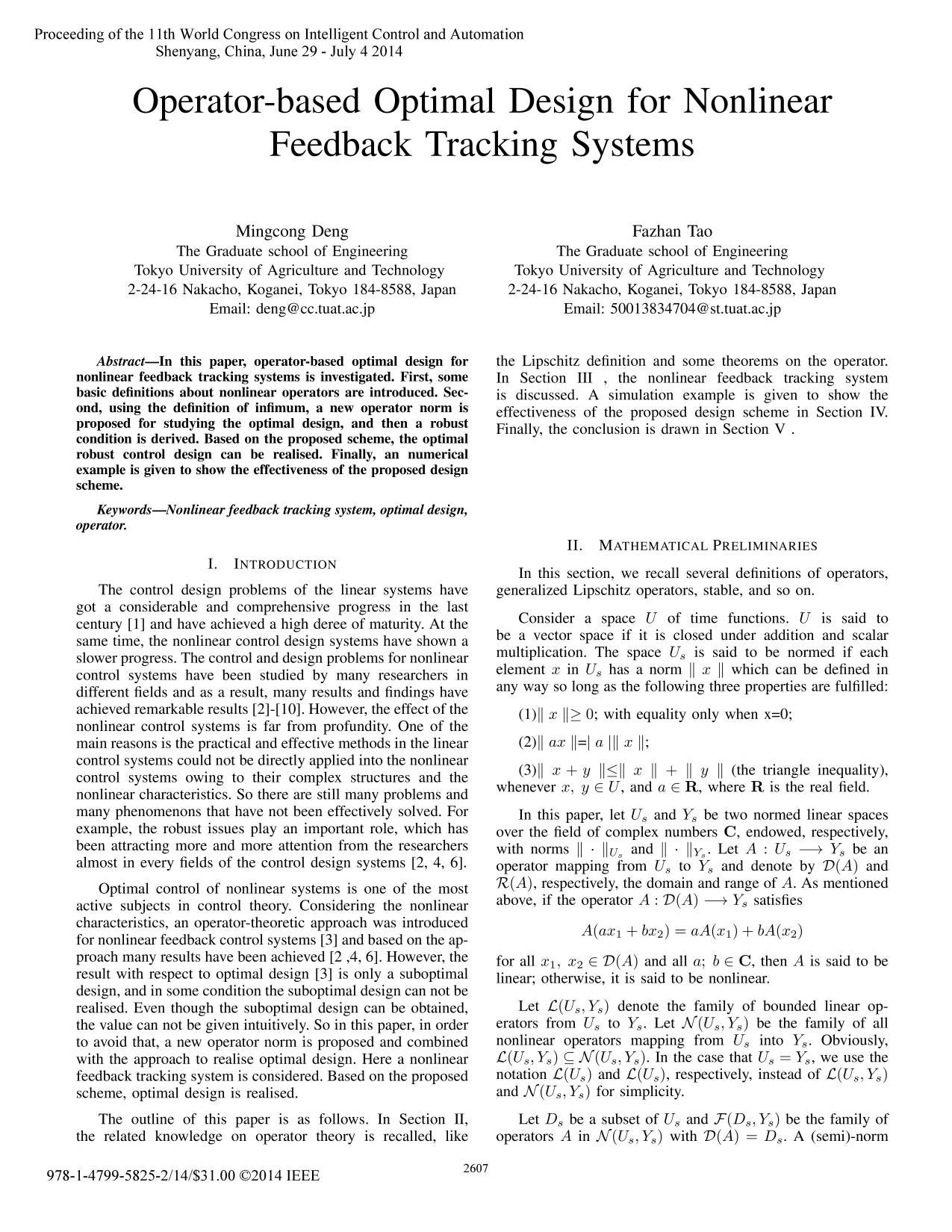 Portada del libro  [IEEE 2014 11th World Congress on Intelligent Control and Automation (WCICA) - Shenyang, China (2014.6.29-2014.7.4)] Proceeding of the 11th World Congress on Intelligent Control and Automation - Operator-based optimal design for nonlinear feedback tracking systems