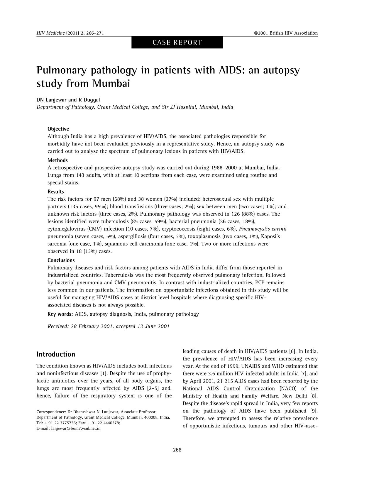 Обложка книги Pulmonary pathology in patients with AIDS: an autopsy study from Mumbai