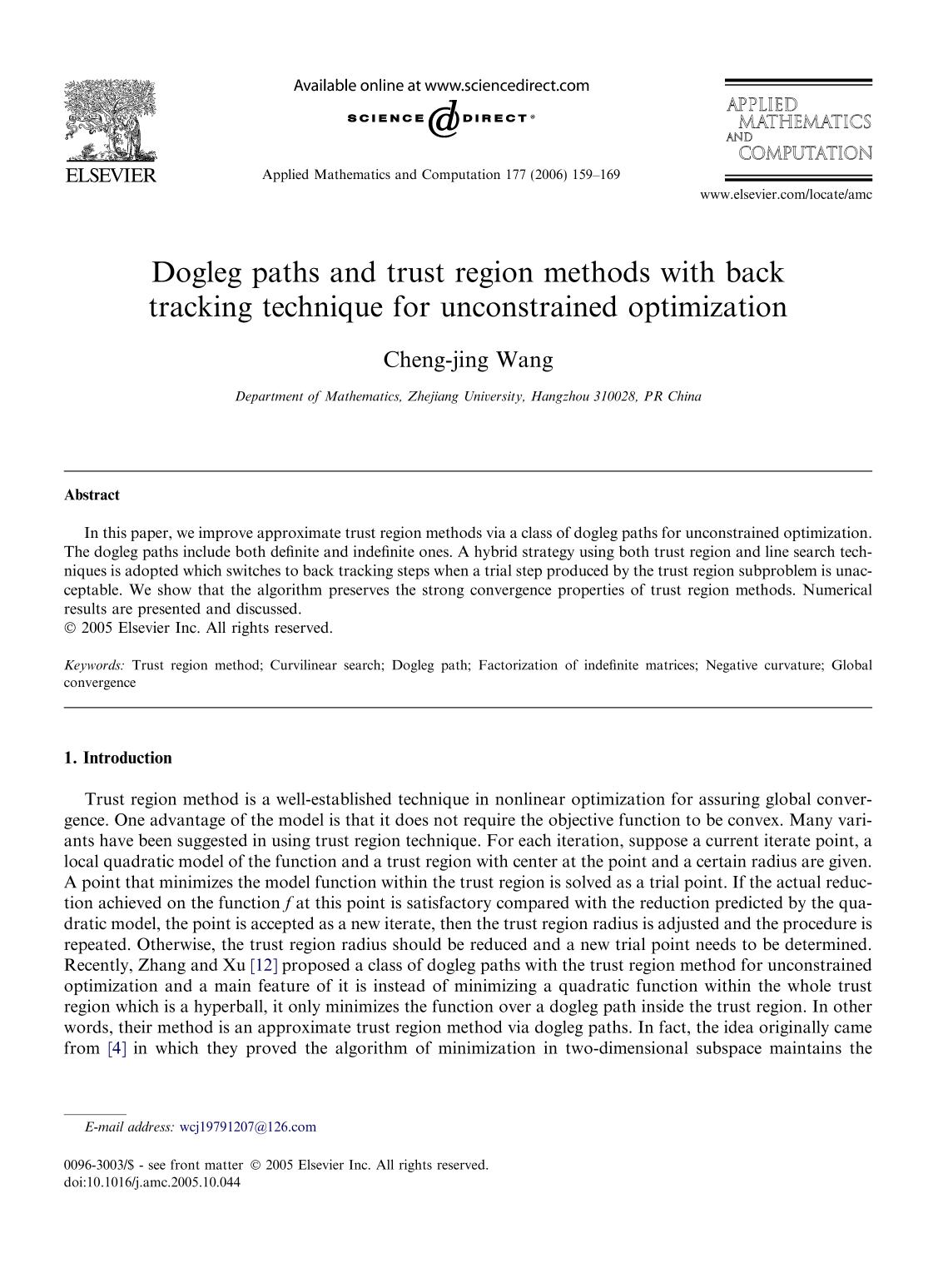 Portada del libro Dogleg paths and trust region methods with back tracking technique for unconstrained optimization