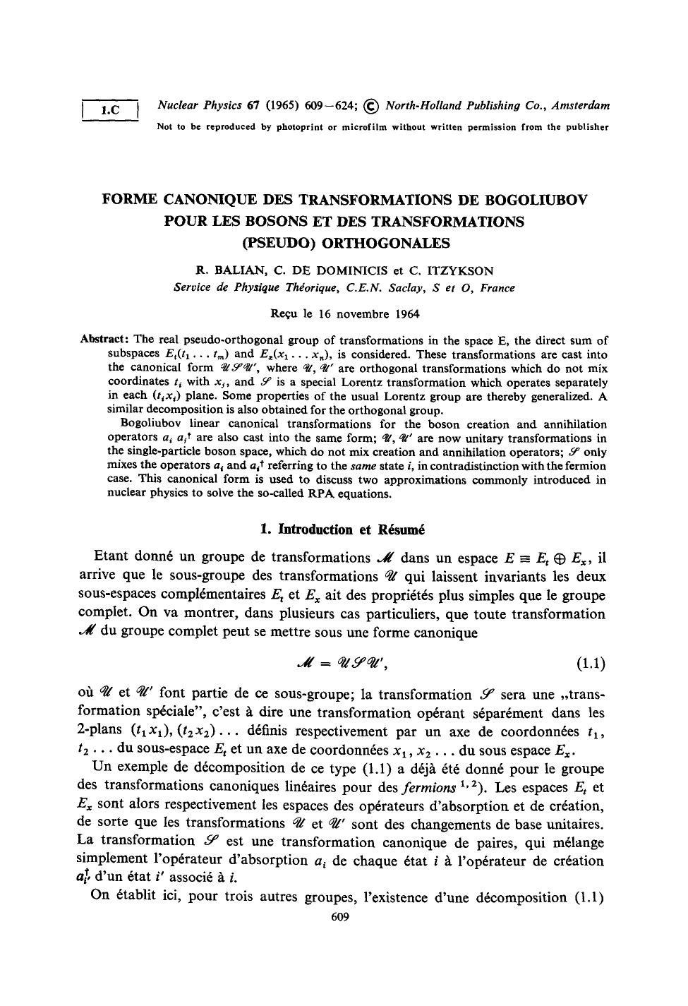 Book cover Forme canonique des transformations de Bogoliubov pour les bosons et des transformations (pseudo) orthogonales