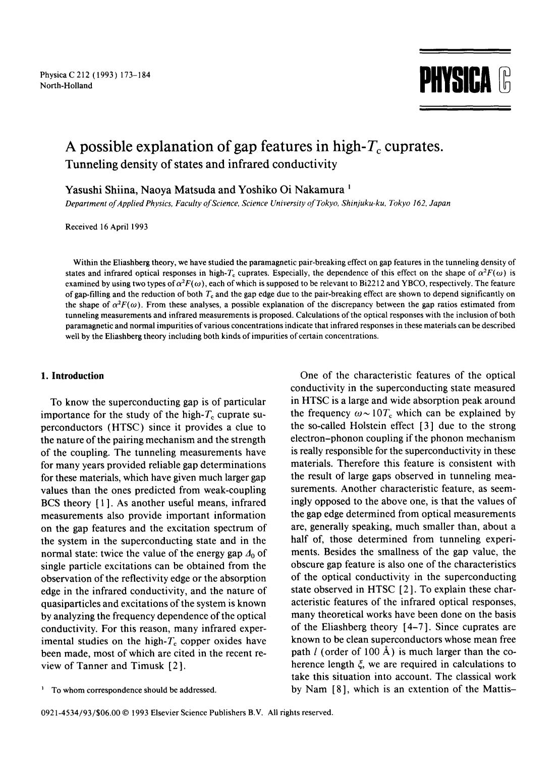 Sampul buku A possible explanation of gap features in high-Tc cuprates: Tunneling density of states and infrared conductivity