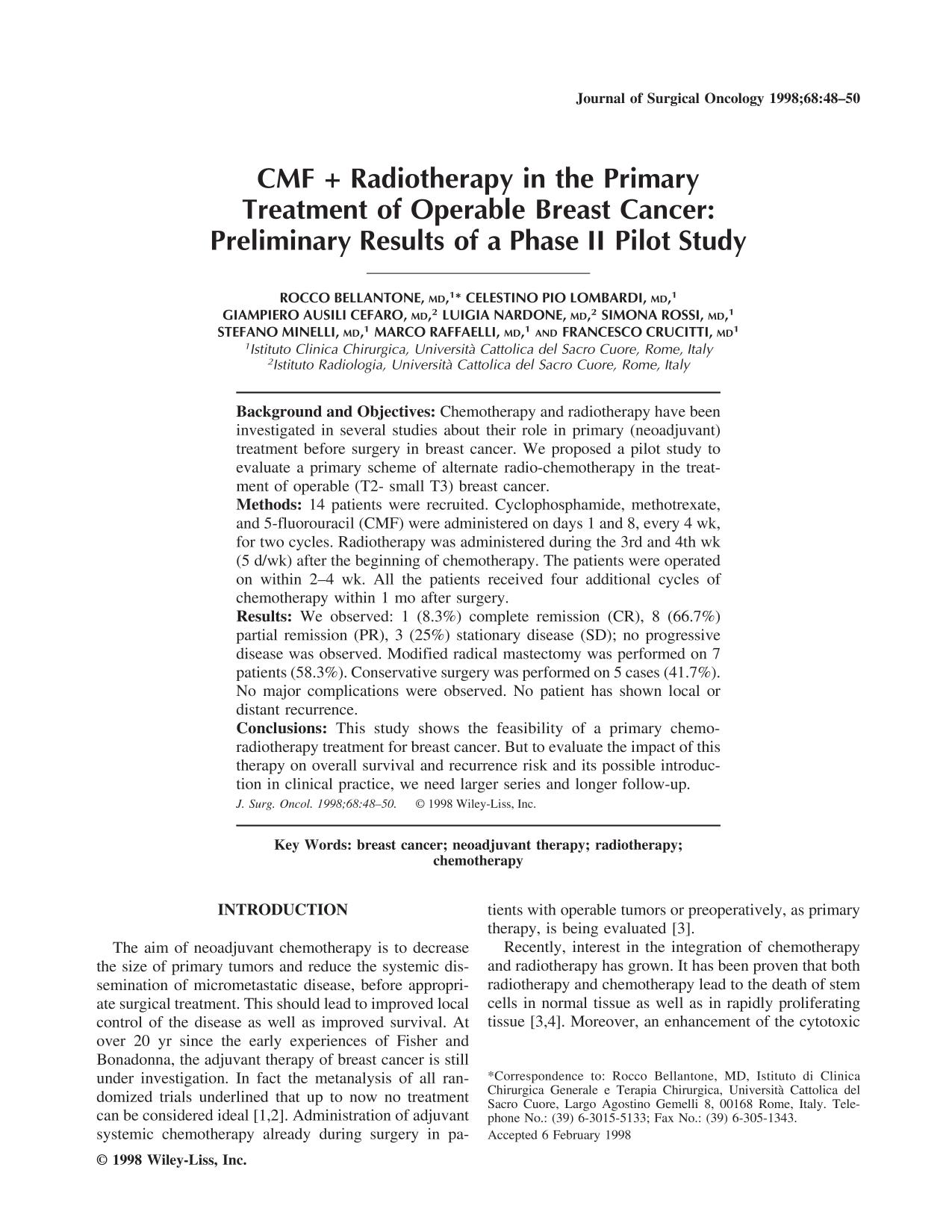 Portada del libro CMF + radiotherapy in the primary treatment of operable breast cancer: Preliminary results of a phase II pilot study