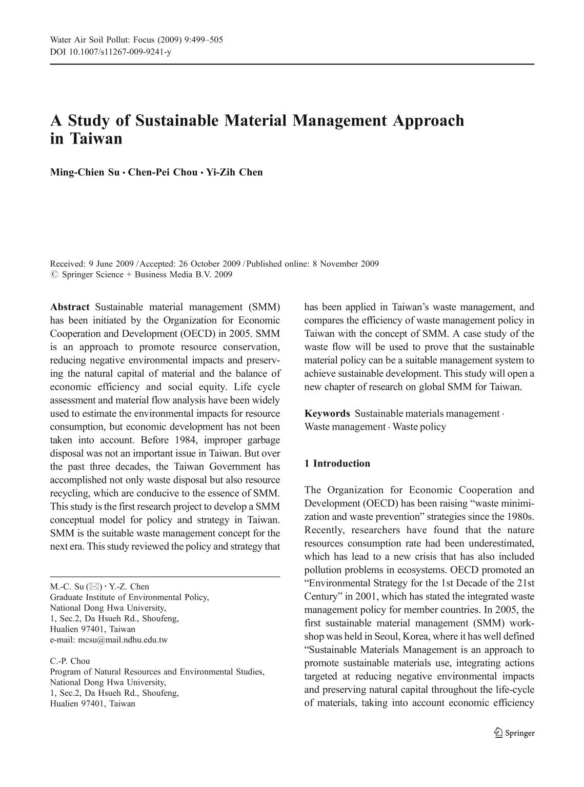 Copertina del libro A Study of Sustainable Material Management Approach in Taiwan